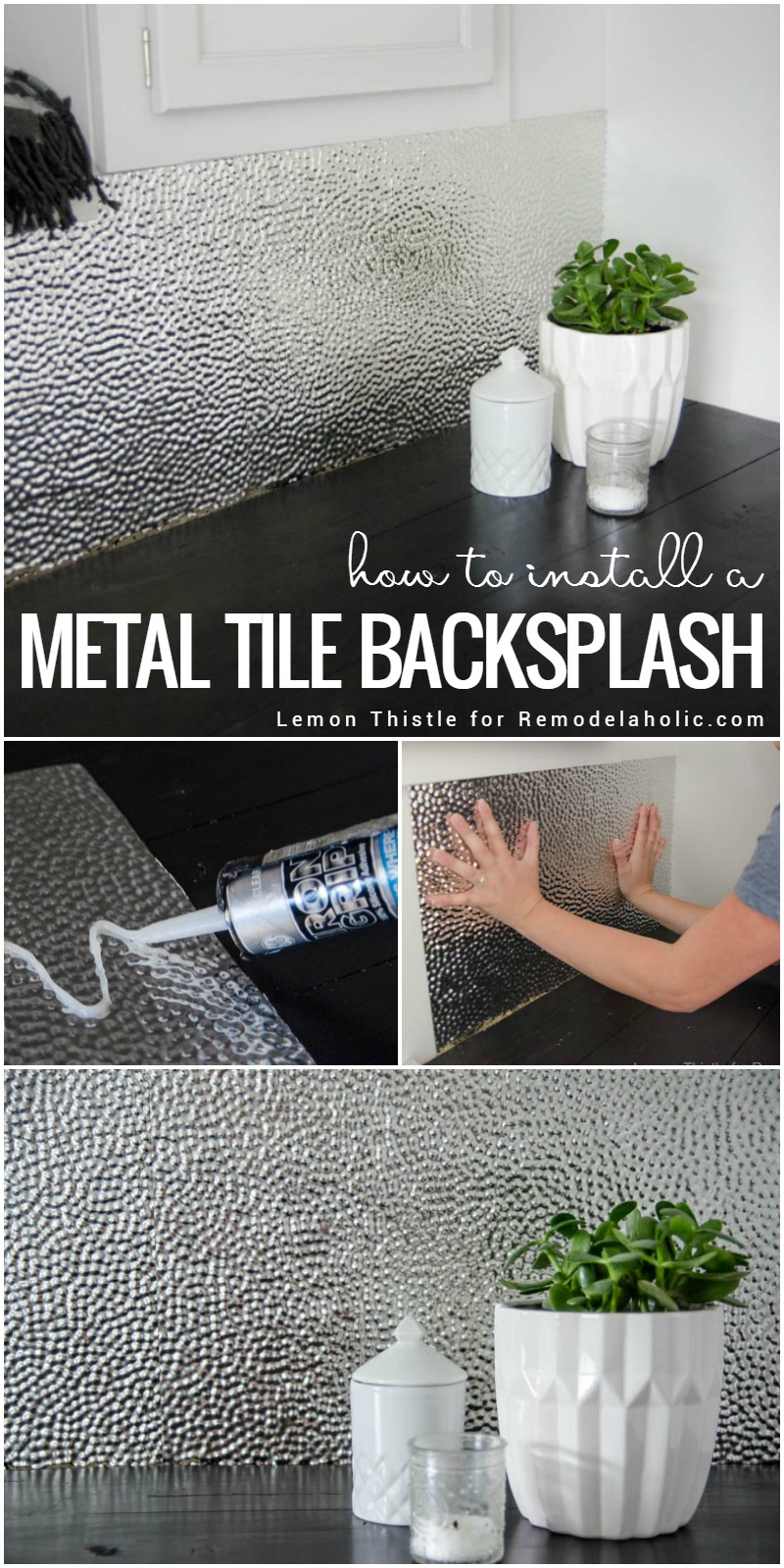 Remodelaholic how to install a metal ceiling tile backsplash learn how to install a unique and modern but easy to clean metal dailygadgetfo Choice Image