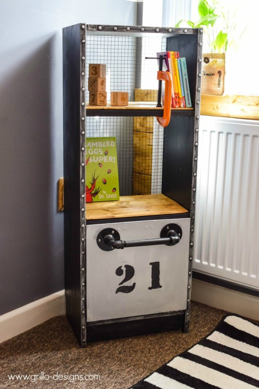IKEA hack billy bookshelf into industrial style kids shelf by Grillo Designs