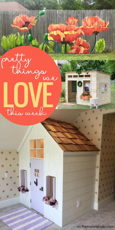 Pretty Things We Love - poppy fence mural, playhouses, and more on @Remodelaholic