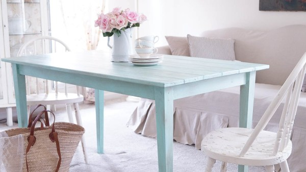 Rustic Farmhouse Faux Plank Table white lace cottage