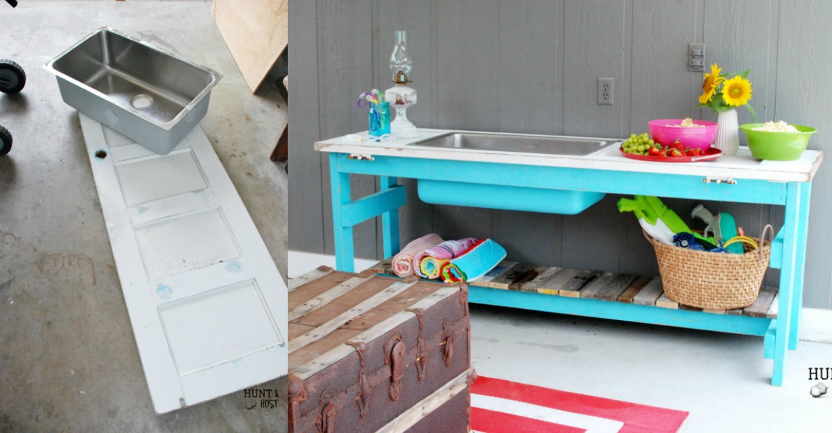 Remodelaholic | Upcycled Door into Outdoor Serving Table with Sink