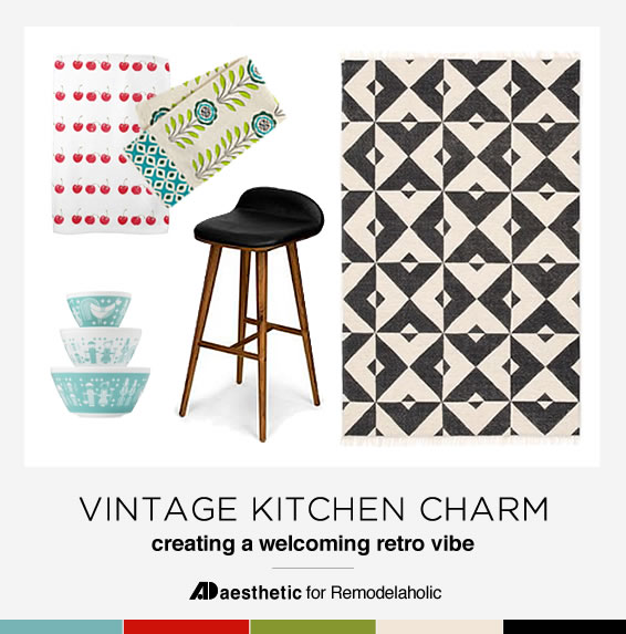 Tips and inspiration for designing a vintage kitchen with a modern feel! Vintage Kitchen Charm • AD Aesthetic for Remodelaholic.com