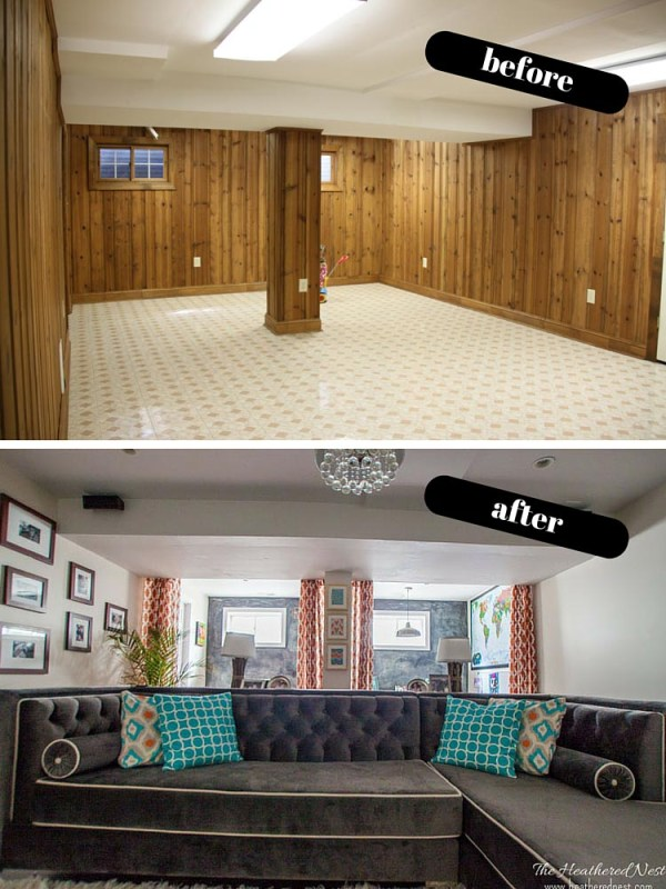 basement renovation and makeover, The Heathered Nest