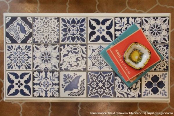 blue_talavera_tile_stencils_painted_furniture