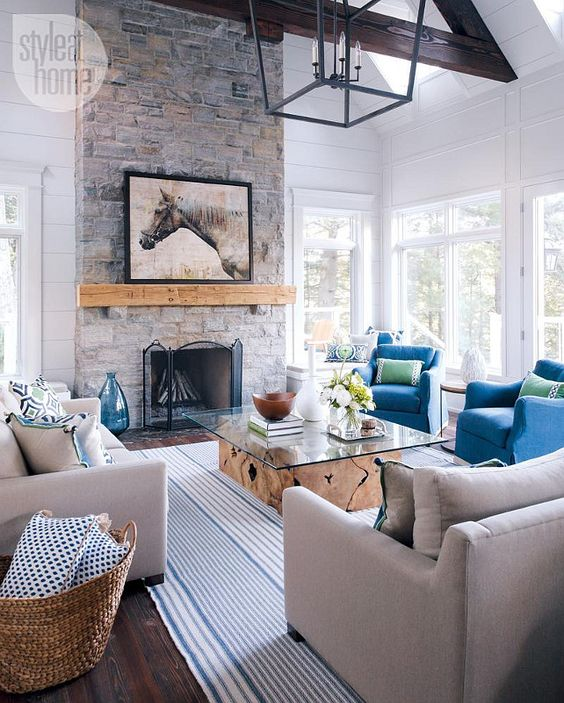 Remodelaholic   Coastal Casual Living Room Design Tips on Fireplace Casual Living id=45856