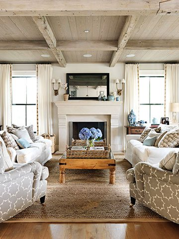 Remodelaholic   Coastal Casual Living Room Design Tips on Fireplace Casual Living id=88550