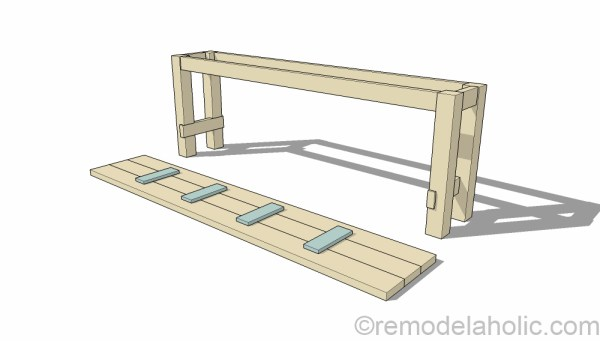 How to build a no-nails console table for easy disassembly for moving. Designed by Shabbyfufu, building plans by @Remodelaholic