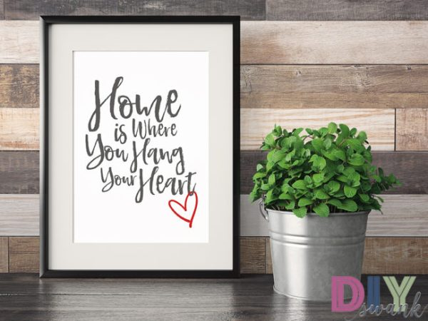 home is where you hang your heart free printable, DIY Swank