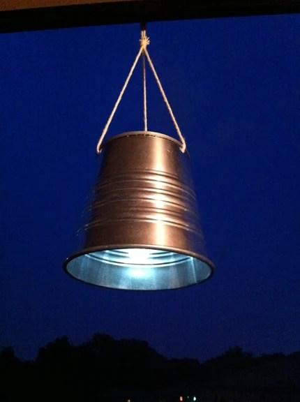 solar lantern from a solar light and IKEA metal bucket via ikeahackers