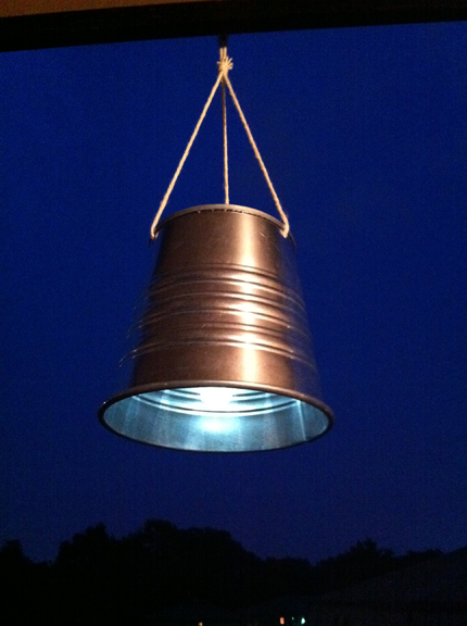 solar lantern from a solar light and IKEA metal bucket via ikeahackers