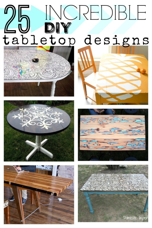 If the top of your table is damaged or if you're just looking for a fresh new look, try one of these DIY tabletop designs, from faux finishes to fun stencils.