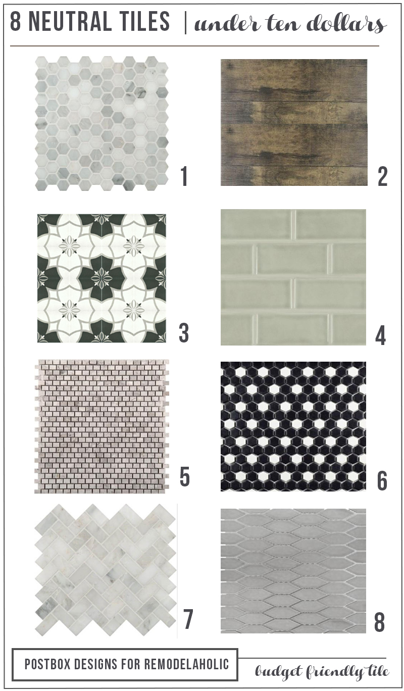 These neutral tiles are gorgeous for any bathroom, and so many styles to fit modern, classic, contemporary, rusic, or whatever your style is | 8 Neutral Bath Tiles for Under $10 by Postbox Designs for Remodelaholic.com