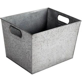 Large Galvanized Bin, Silver