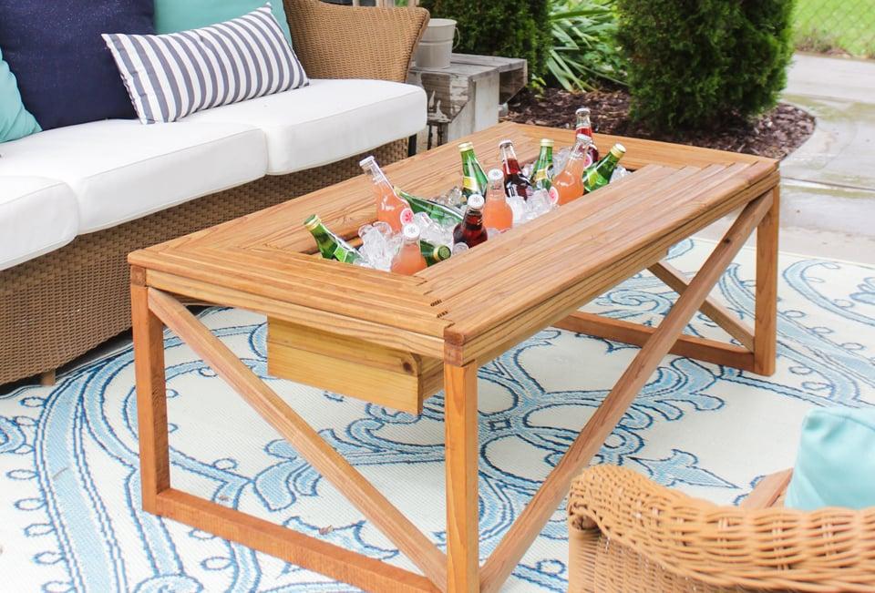 remodelaholic brilliant diy cooler tables for the patio with rh remodelaholic com patio table with ice cooler patio table with drink cooler