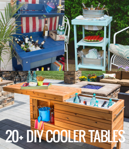 DIY Cooler Tables with built-in ice chests and sinks @Remodelaholic crop
