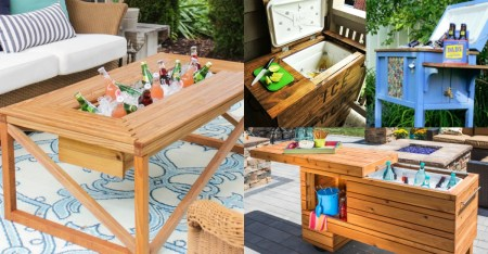 DIY Cooler Tables with built-in ice chests and sinks @Remodelaholic fb