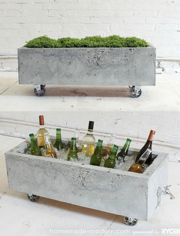 DIY modern concrete trough planter or rolling drink cooler table by Homemade Modern