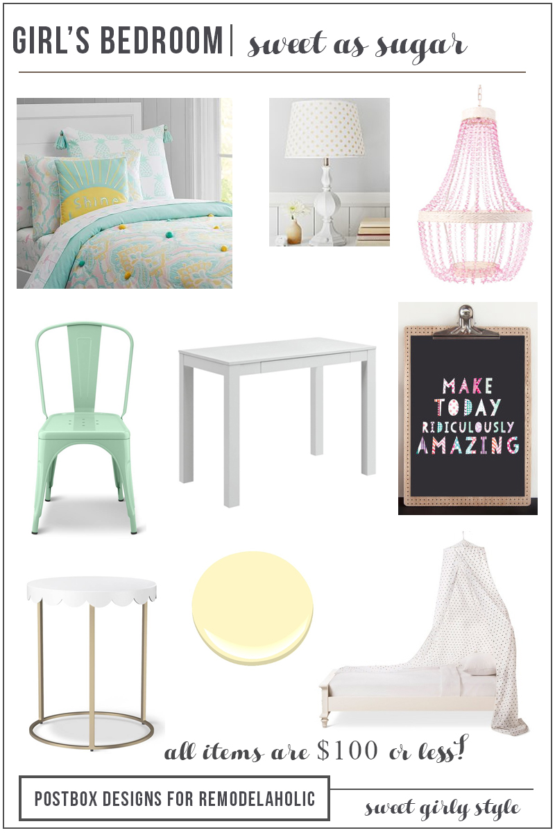 Decorating a Girl's Room on a Budget | This sweet as sugar girls bedroom combines the girly with the classic for a room that will grow with her into tween and teen years. By Postbox Designs for Remodelaholic.com