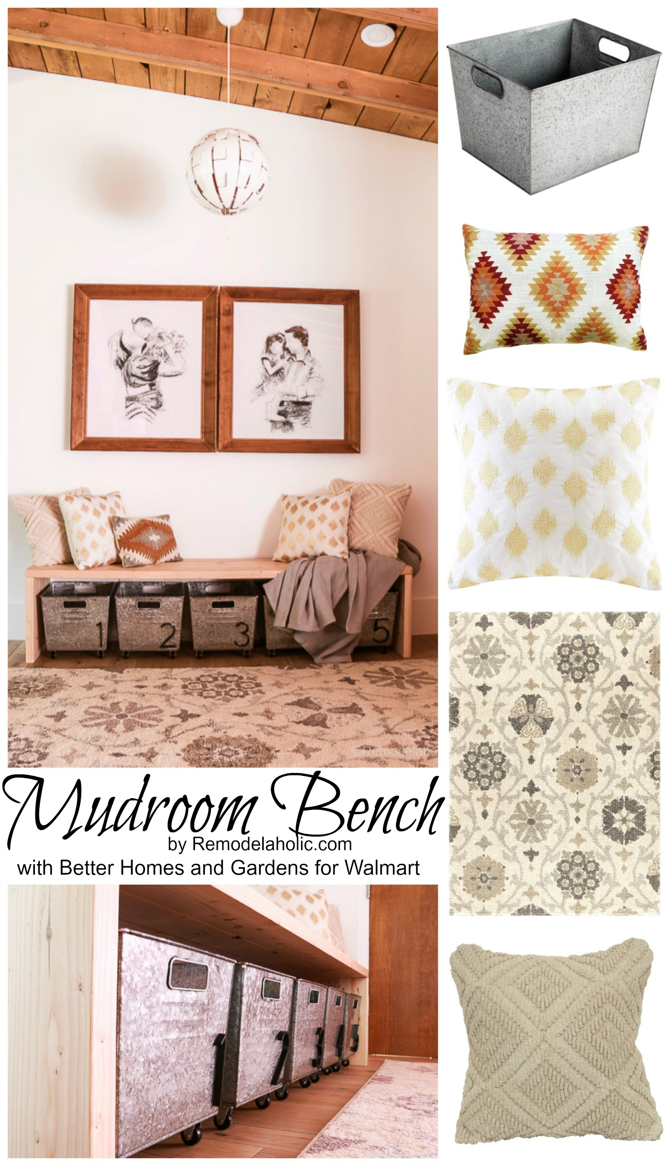 Great DIY Mudroom Area For Small Entry With Better Homes And Gardens At  Walmart Remodelaholic Remodelaholic New Mudroom Area Fetching And Blanket  Home ...