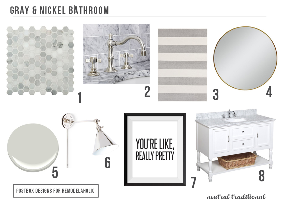 Remodelaholic | Polished Nickel & Gray Bath with $10 (and Under ...