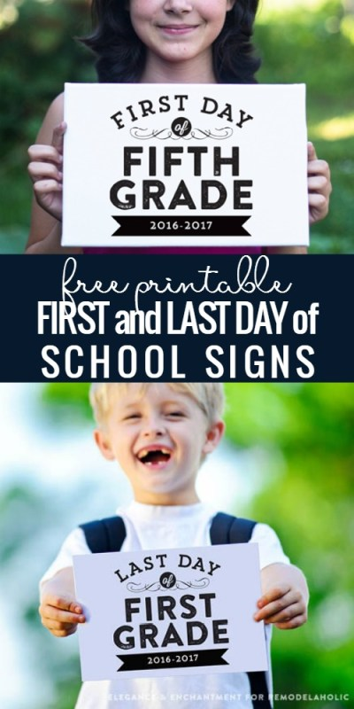 Free Printable First And Last Day Of School Signs @Remodelaholic