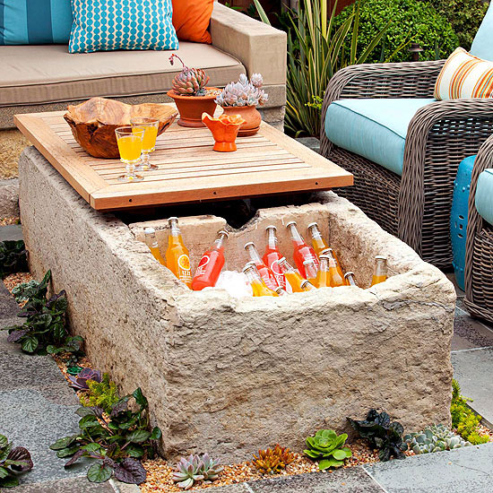 limestone drink cooler coffee table for the patio, via BHG