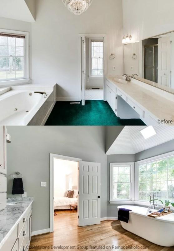 1980's Master Bathroom Renovation, Fendall Home Renovation, Cobblestone Development Group featured on @Remodelaholic