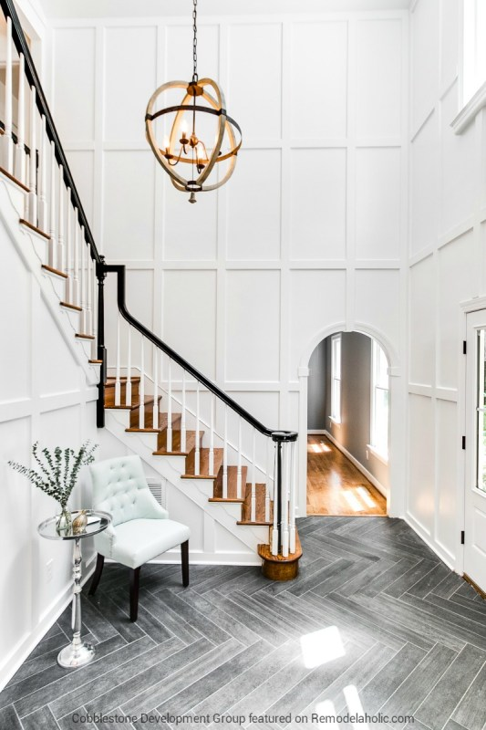 1980's Tall Entryway Renovation, Fendall Home Renovation, Cobblestone Development Group featured on @Remodelaholic