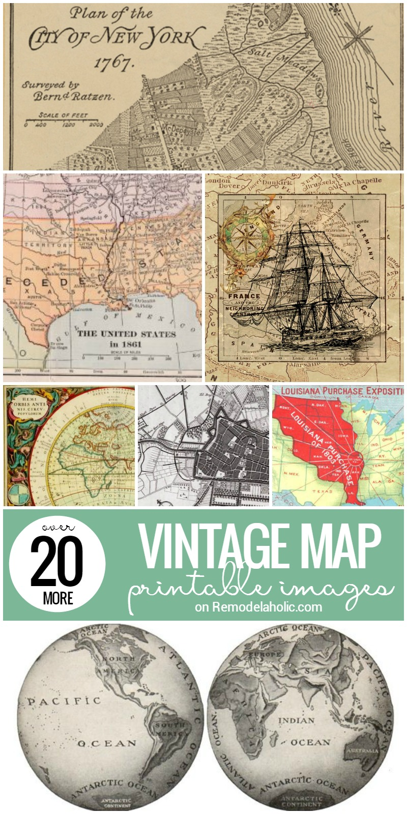 photo about Printable Vintage Maps called Remodelaholic 20+ Further more Totally free Printable Basic Map Illustrations or photos