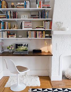 Awkward Alcove Solution: Add floating shelves (and a desk!)   More ideas at Remodelaholic.com   Image Source: elledecor.com