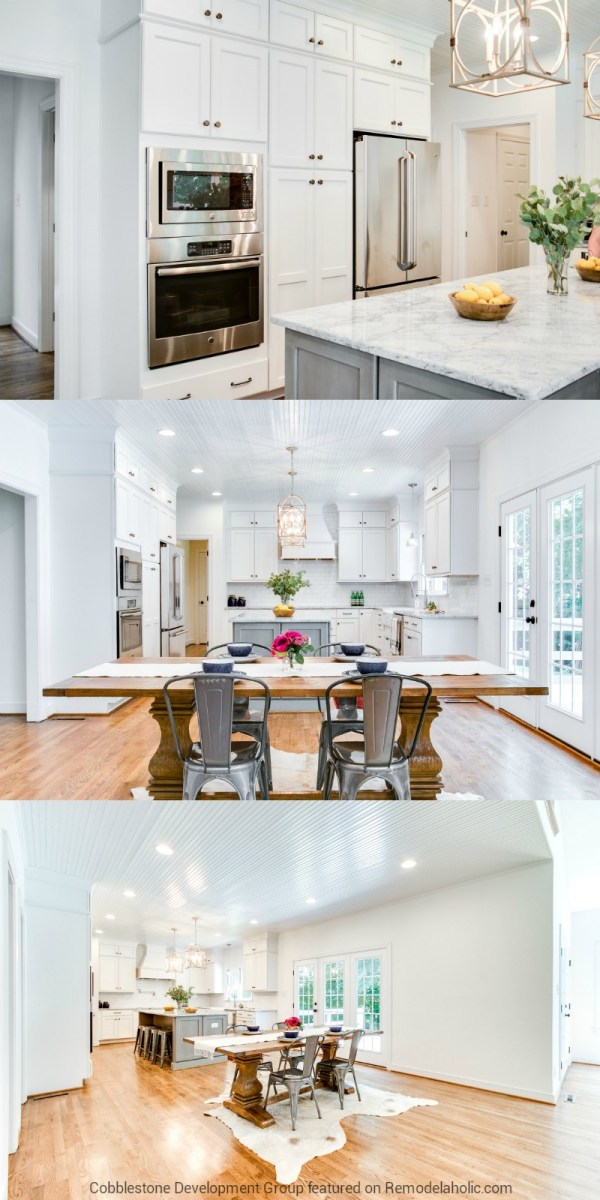 Beautiful White Kitchen and Dining Room Renovation, Fendall Home Renovation, Cobblestone Development Group featured on @Remodelaholic