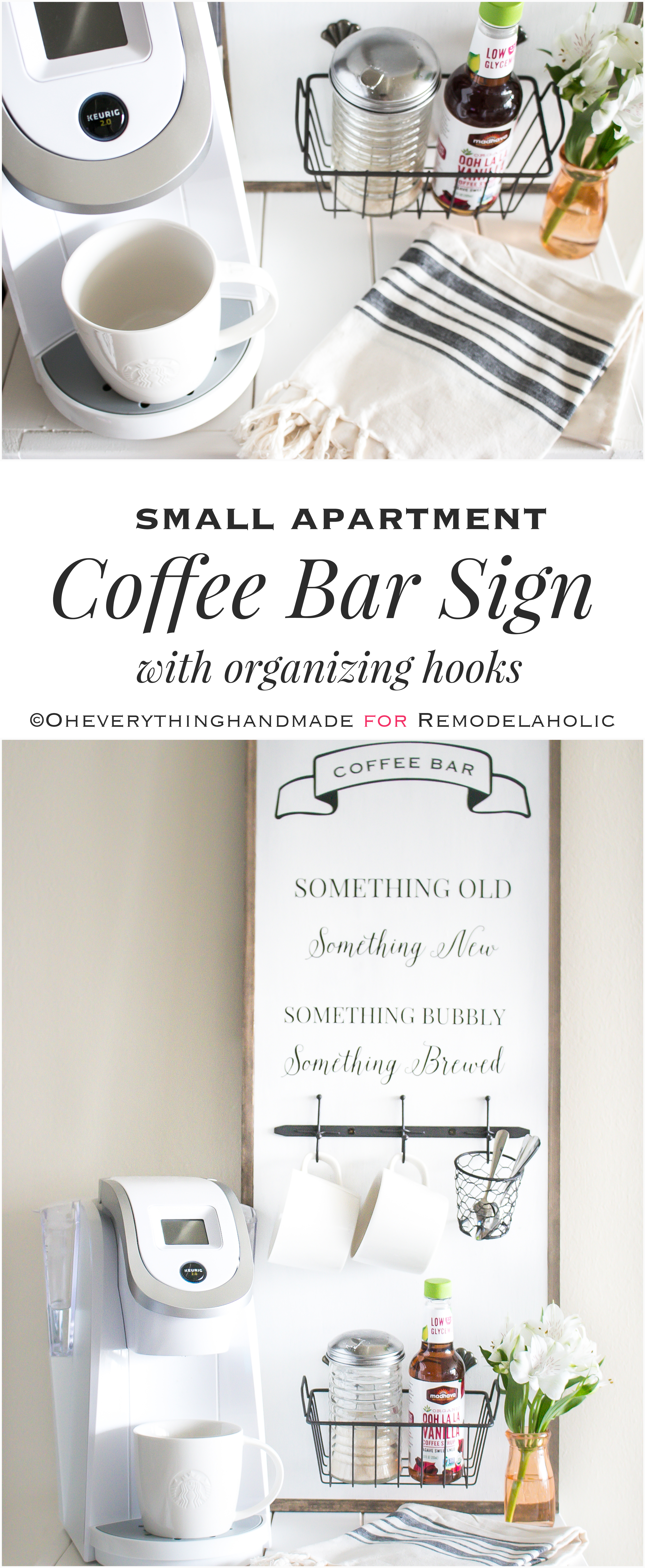 Create a space-saving mini coffee bar right in your small home or apartment with this easy and chic DIY coffee bar sign and organizer.