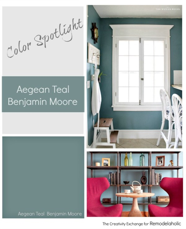 Color Spotlight Aegean Teal from Benjamin Moore. Remodelaholic.