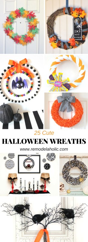 Halloween is the perfect time to dress up your front door or home with Halloween Wreaths! Start decorating with on of these 25 Cute Halloween Wreaths featured on Remodelaholic.com