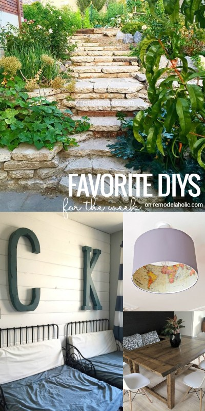 This Friday Favorites series is my FAVORITE! So many great projects. This week has a salvaged concrete retaining wall/steps, an awesome changing table upcycle, plus farmhouse style for a kids bedroom, dining table, planter, and more! See everything at Remodelaholic.com.