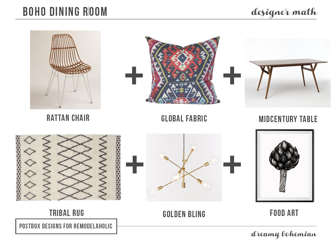 Boho Dining Room by Postbox Designs for Remodelaholic.com