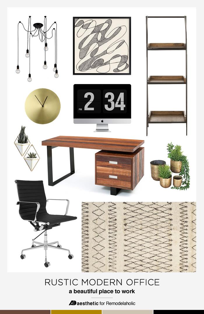 Rustic Modern Office Moodboard