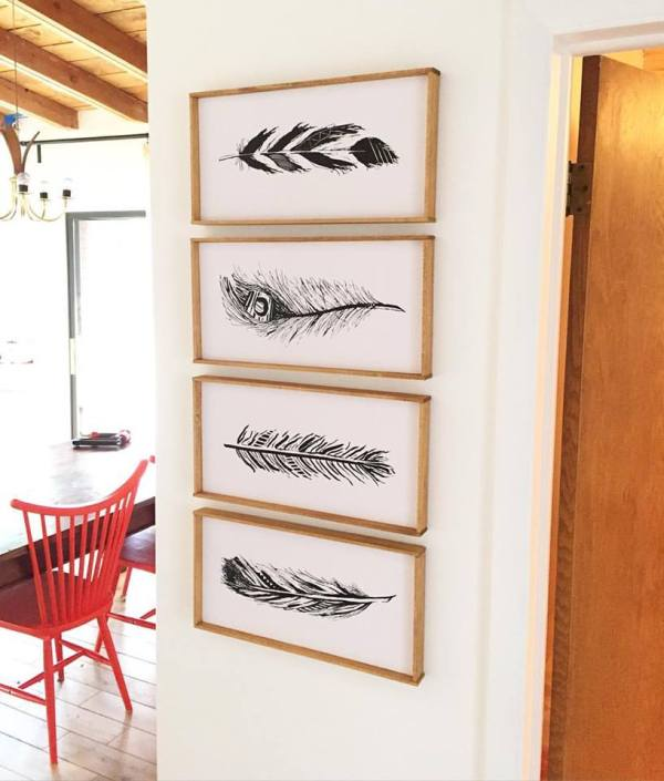 free hand-drawn feather printables, in DIY frames @Remodelaholic