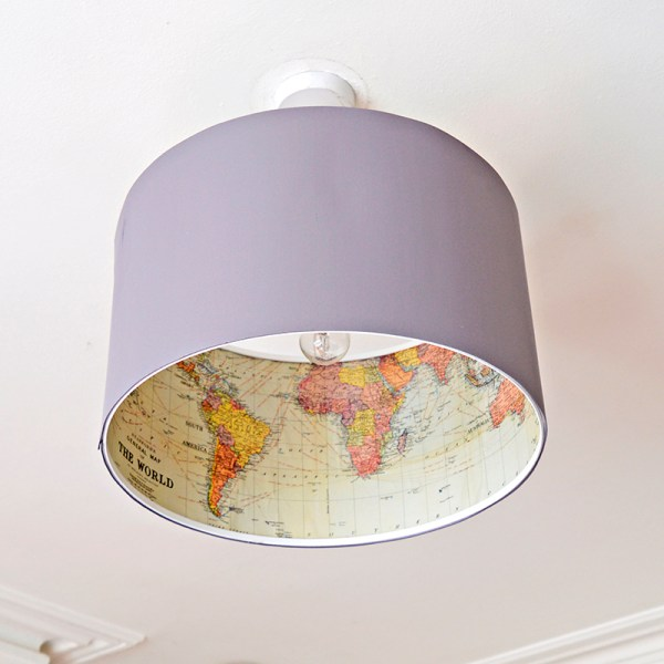 ikea hack lampshade with map inside, Pillar Box Blue