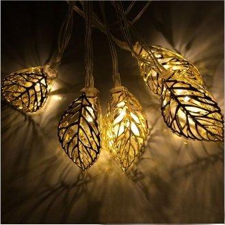 outdoor solar string lights, leaves
