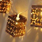 outdoor solar string lights, metal lantern