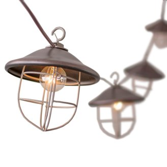 outdoor string lights, metal cage