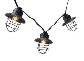 outdoor string lights, metal lantern