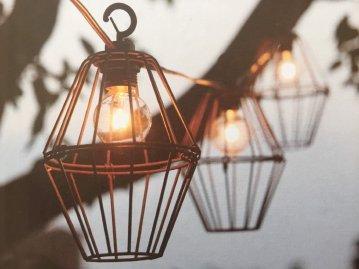 outdoor string lights, metal