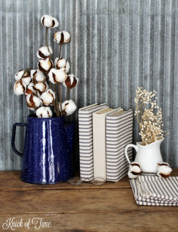 use ticking for easy farmhouse style to cover books, Knick of Time