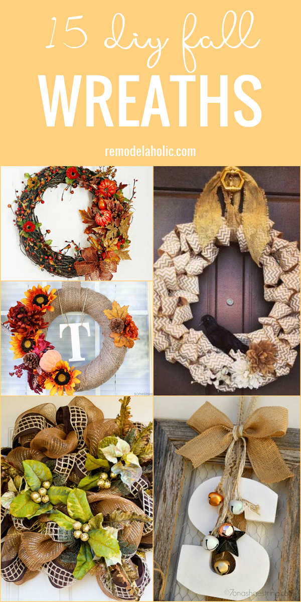 A wreath is a fall porch essential. Want a new and fresh look? Try one of these 15 DIY Fall Wreaths featured on Remodelaholic.com