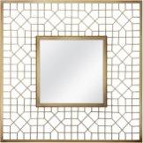 "20"" Gold Geometric Square Mirror"