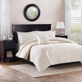4pc Solid Damask Reversible Quilt Bedding Set