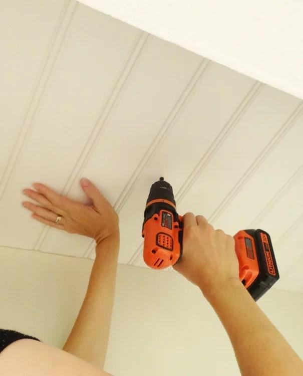 DIY Beadboard Ceiling Screw in Beadboard