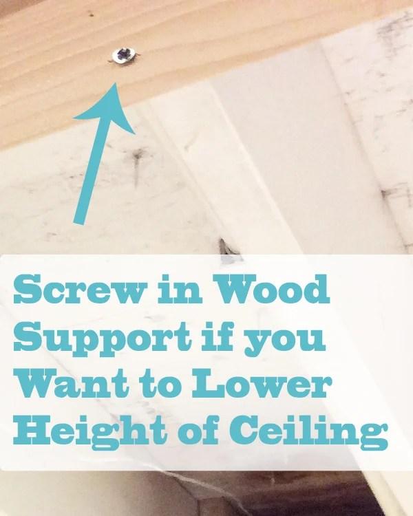 DIY Beadboard Ceiling Screw in Wood Support